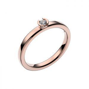 Schalins Vigselring 18k roséguld Rhen 0,07 ct diamant