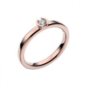 Schalins Vigselring 18k roséguld Rhen 0,12 ct diamant