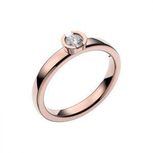 Schalins Vigselring 18k roséguld Rhen 0,20 ct diamant