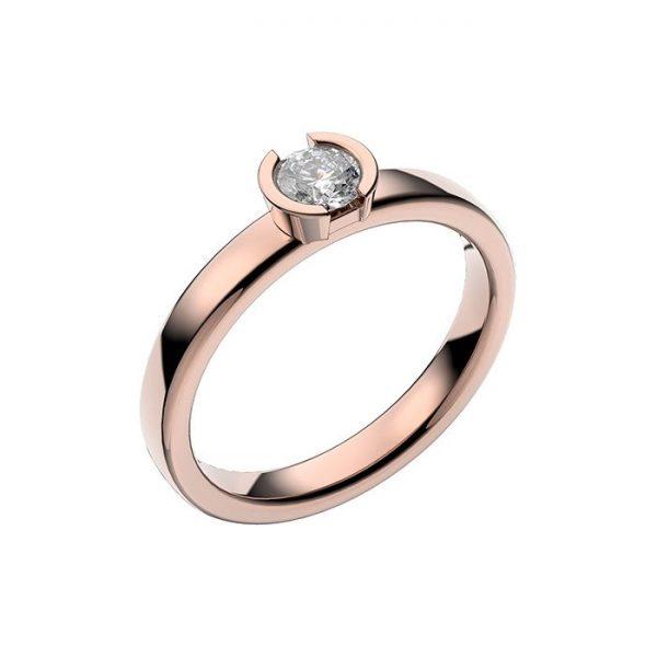 Schalins Vigselring 18k roséguld Rhen 0,30 ct diamant