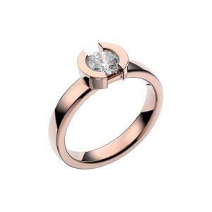 Schalins Vigselring 18k roséguld Rhen 0,60 ct diamant
