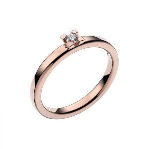 Schalins Vigselring 18k roséguld Seine 0,07 ct diamant