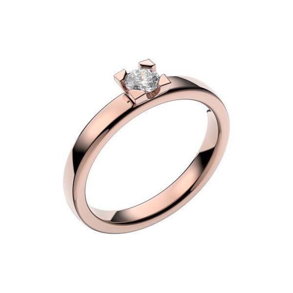 Schalins Vigselring 18k roséguld Seine 0,20 ct diamant