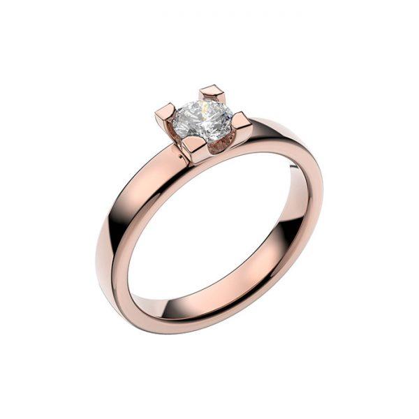 Schalins Vigselring 18k roséguld Seine 0,40 ct diamant