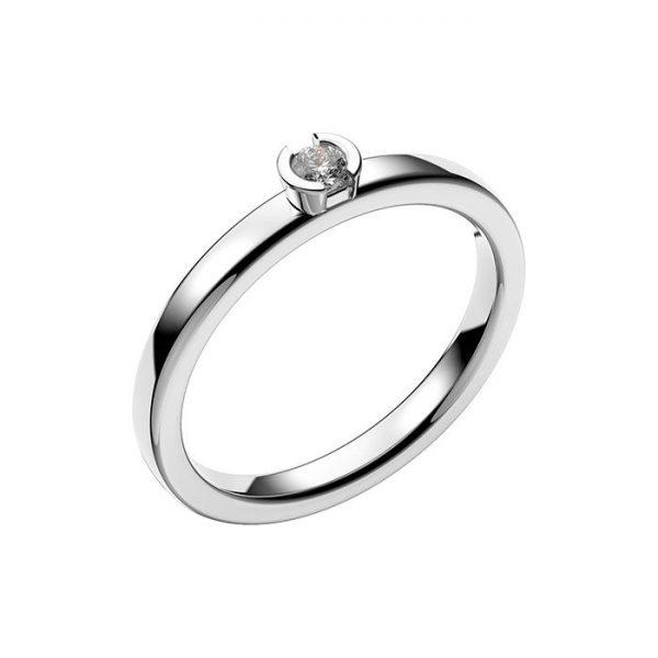 Schalins Vigselring 18k vitguld Rhen 0,07 ct diamant
