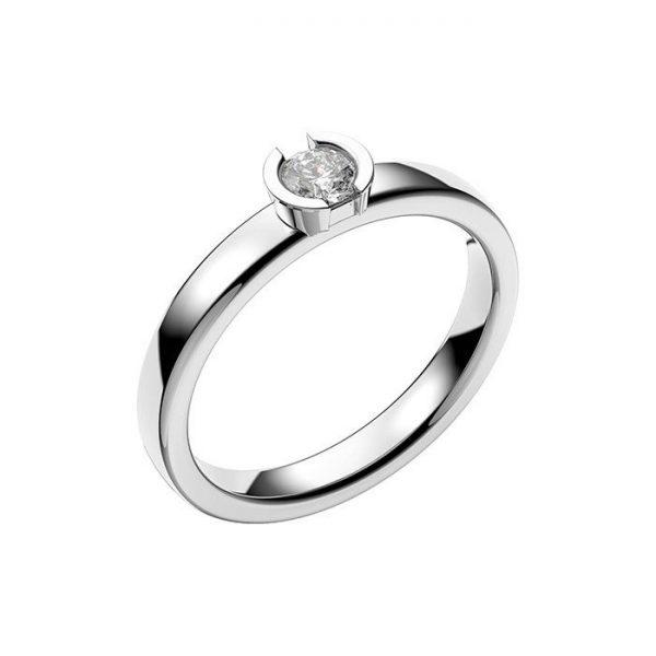 Schalins Vigselring 18k vitguld Rhen 0,20 ct diamant