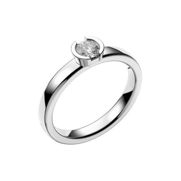 Schalins Vigselring 18k vitguld Rhen 0,30 ct diamant