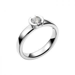 Schalins Vigselring 18k vitguld Rhen 0,40 ct diamant