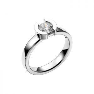 Schalins Vigselring 18k vitguld Rhen 0,60 ct diamant