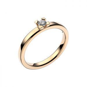 Schalins Vigselring 18k vitguld Seine 0,12 ct diamant