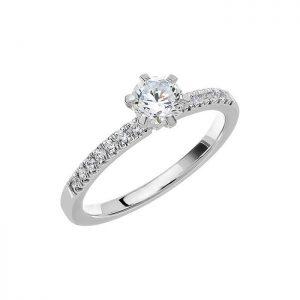 Schalins Vigselring Love 02 18k vitguld 0,64 ct diamant
