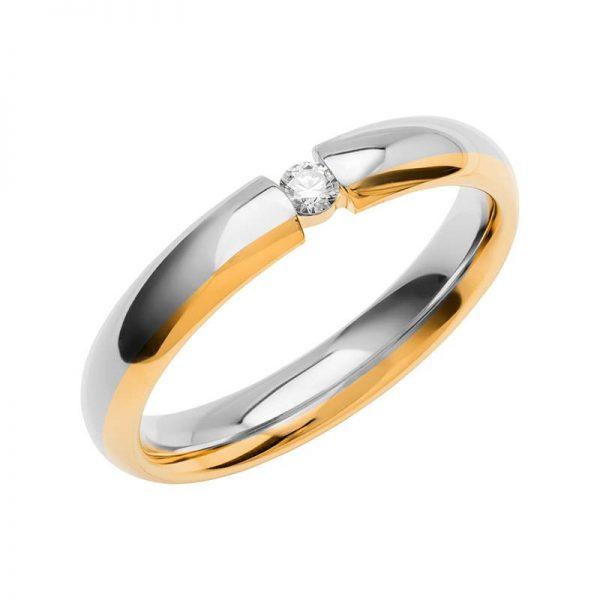 Schalins Vigselring Color Of Love SR4012 18K Guld/Vitguld 0,06 ct